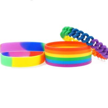 High Quality cheap Stock variety pride rainbow silicone wristband