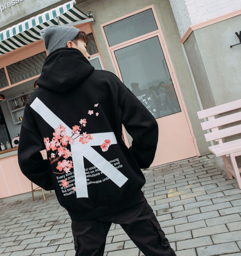 The New printing Autumn and Winter pink and black cotton hoodie sweatshirt