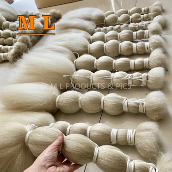 hot hair extensions 100% yak tail hair natural white color 28''