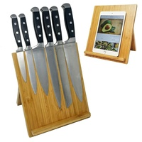 Durable multi-function Natural Bamboo Wood Magnetic Knife Dock Stand Holder for kitchen