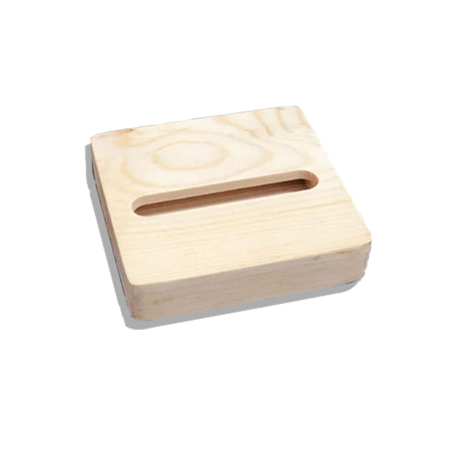 Stylish simple square easy to carry pine desktop lazy stand mobile phone base wooden loudspeaker