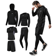5pcs Custom Breathable Tight High Elastic Comfortable Gym Fitness Men's  T-shirts Sport Training Team Sets Running Jogging Suits