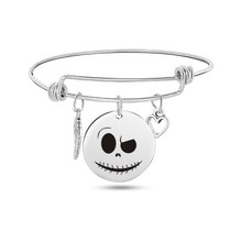 Stainless Steel Man And Women Trendy Halloween Pumpkin Bracelet The Nightmare Before Christmas Charm Bracelet