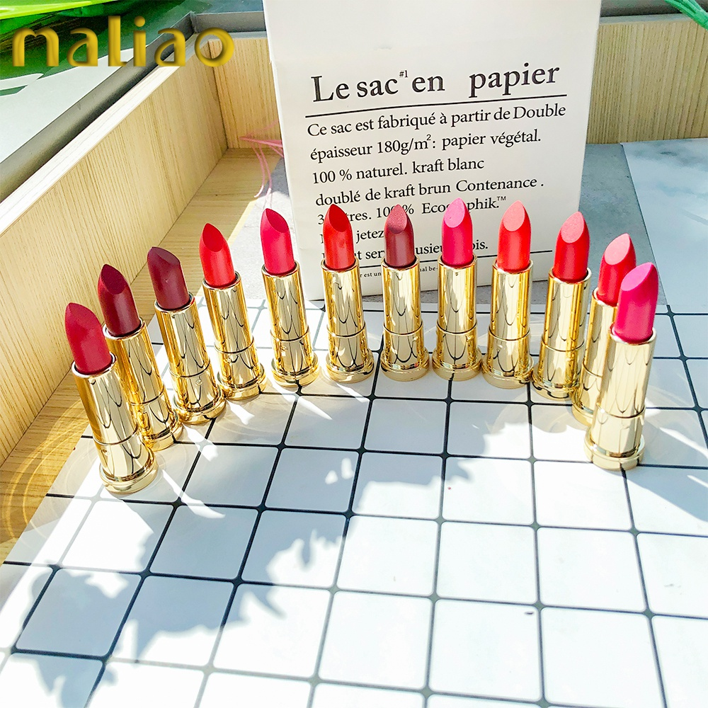 Maliao Cosmetic Makeup Private Label Factory Oem Odm Design Gold Matte Female Red Lipstick