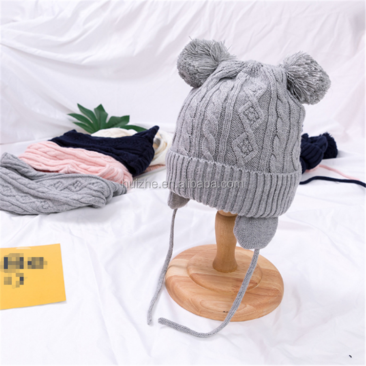 Wholesale Ages 2-8 baby hat Children Lace Up Winter Hats For Boys Girls Cotton Thick Warm Knitted Ears Beanie Woolen Pompom <strong>Cap</strong>