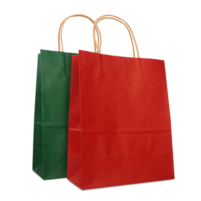 Festival Gift Kraft Paper Bag Shopping Bags DIY Multifunction Candy Color Paper Bag With Handles 21x11x27cm