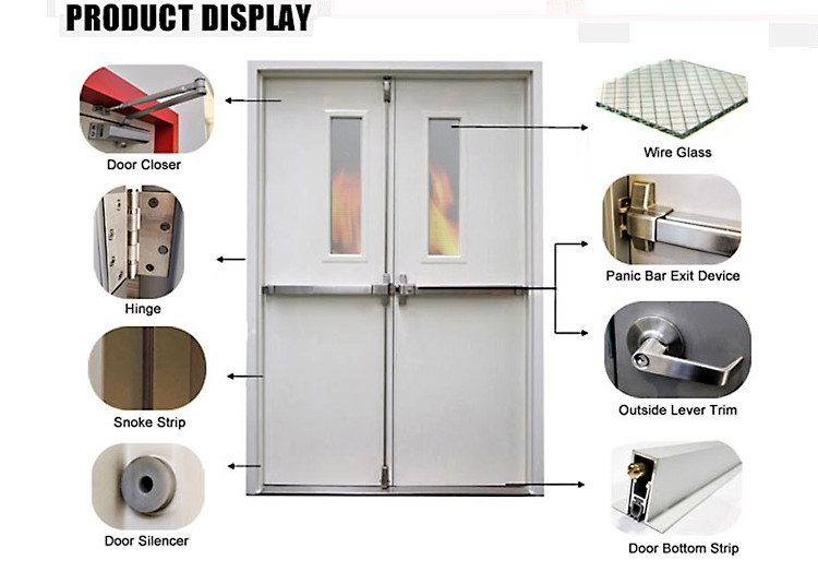 3 hours Steel fire rated proof resistant ul certificate for fire door