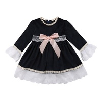 Newborn Baby Girl Clothes Bow Outfit Party Princess Dresses Kids Fall Long Sleeve Girls Fashion Cotton Lace Dress