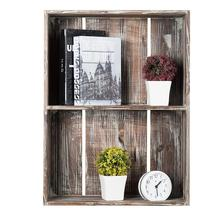 Rustic Torched Wood Crate Floating Display <strong>Shelf</strong>