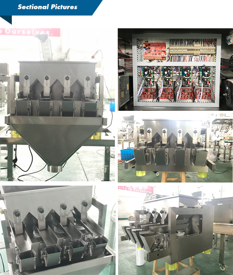 Smart  four heads linear weigher automatic packaging machine for filling small granules salt sugar seeds sesames