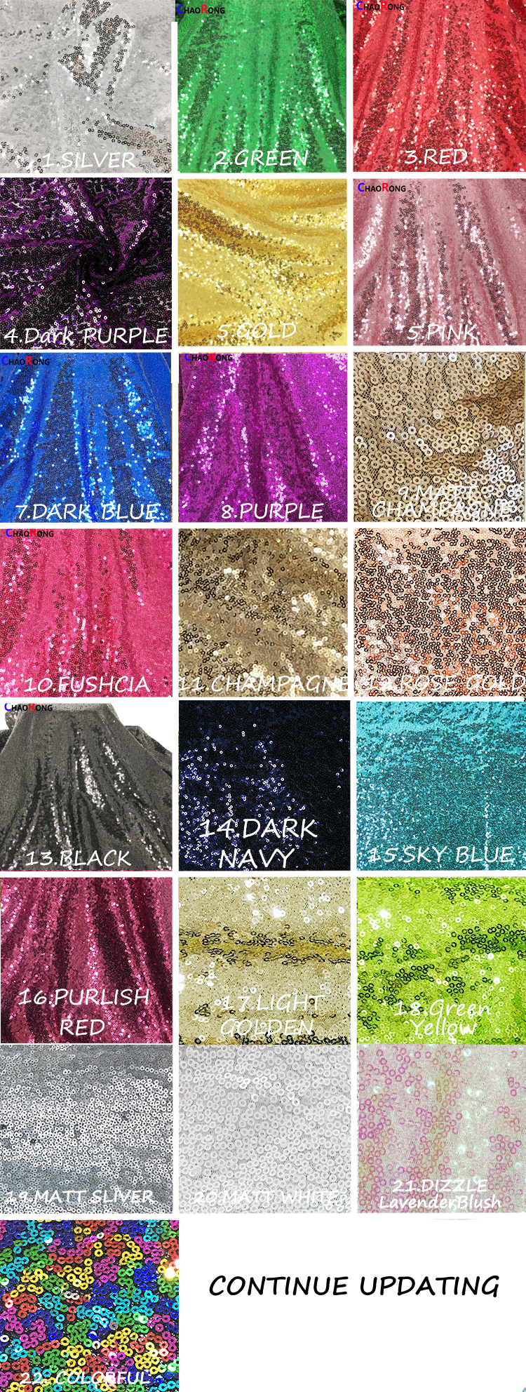 CRF0339 Classic Embroidery tulle Dress table fabric 3MM Wholesale Sequin Fabric