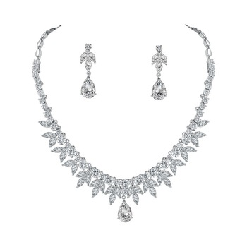 Sparkling Cubic Zirconia Crystal Water Drop and Marquise Necklace and Earring Bridal or Bridesmaid's Wedding Jewelry Set