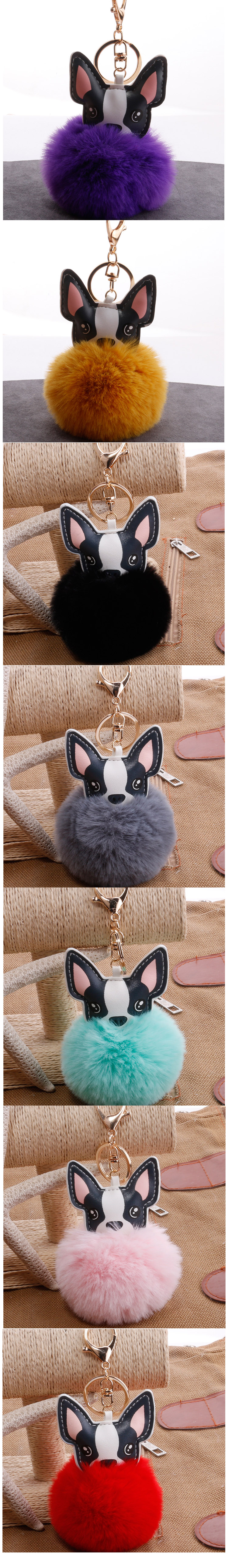 Duck Horse Koala Bear Panda Shark Turtle Unicorn Rabbit Fox Real Mink Fur Ball Plush Dog Keychain