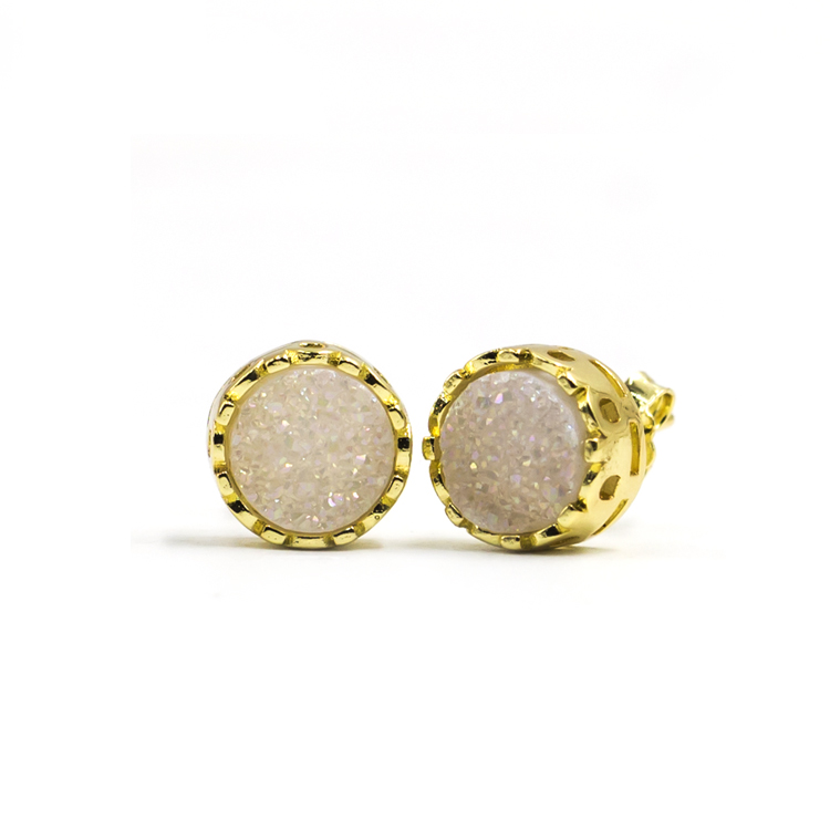accessories women 2020 wholesale new arrivals simple design druzy agate stud earrings