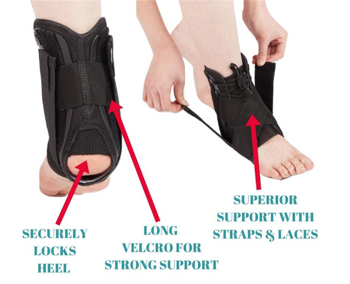 Adjustable Lace Up ankle injury rehabilitation mobilization brace Ankle support for Sprained Weak Ankles, Swelling