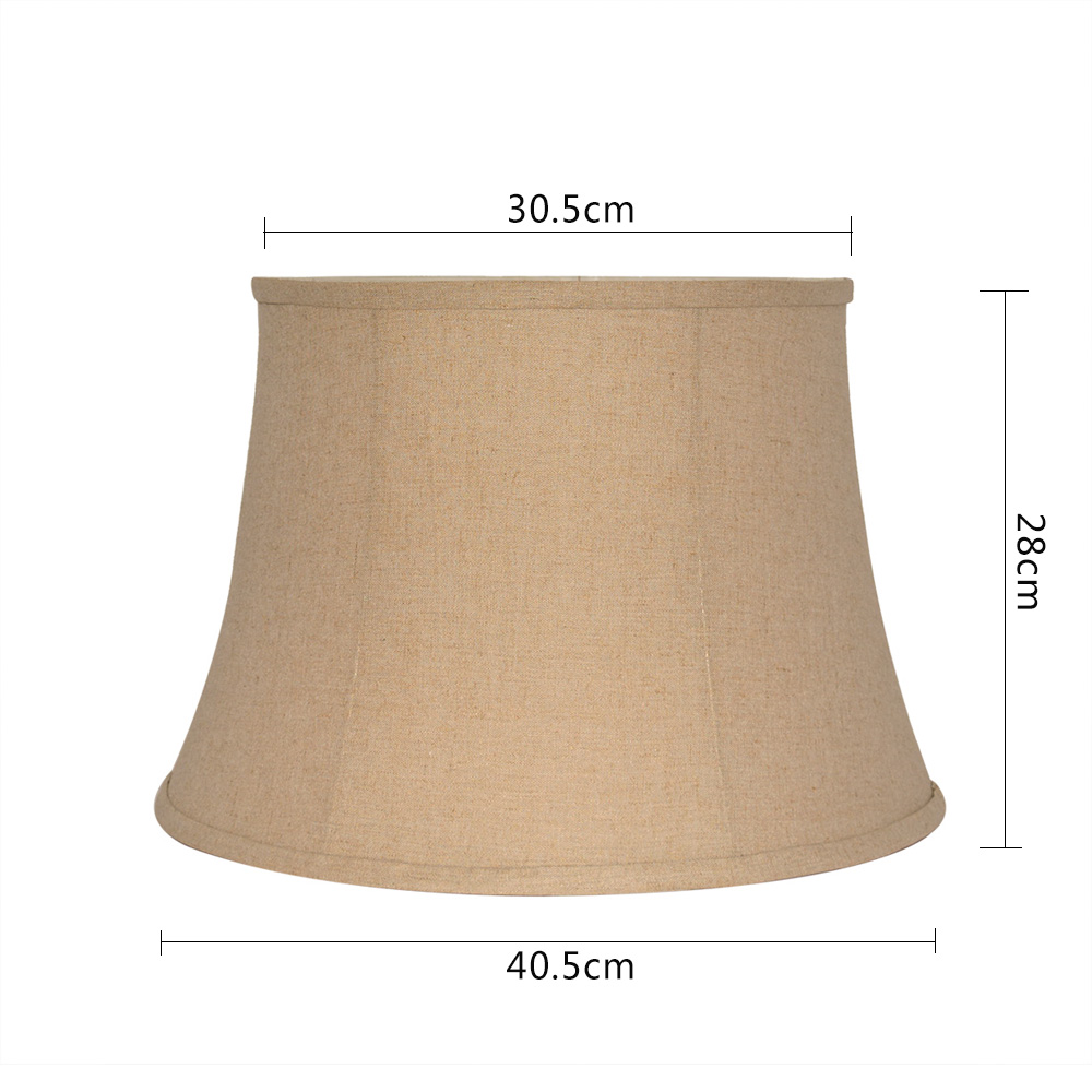 decorative linen fabric metal chromium plating base  table lampshade