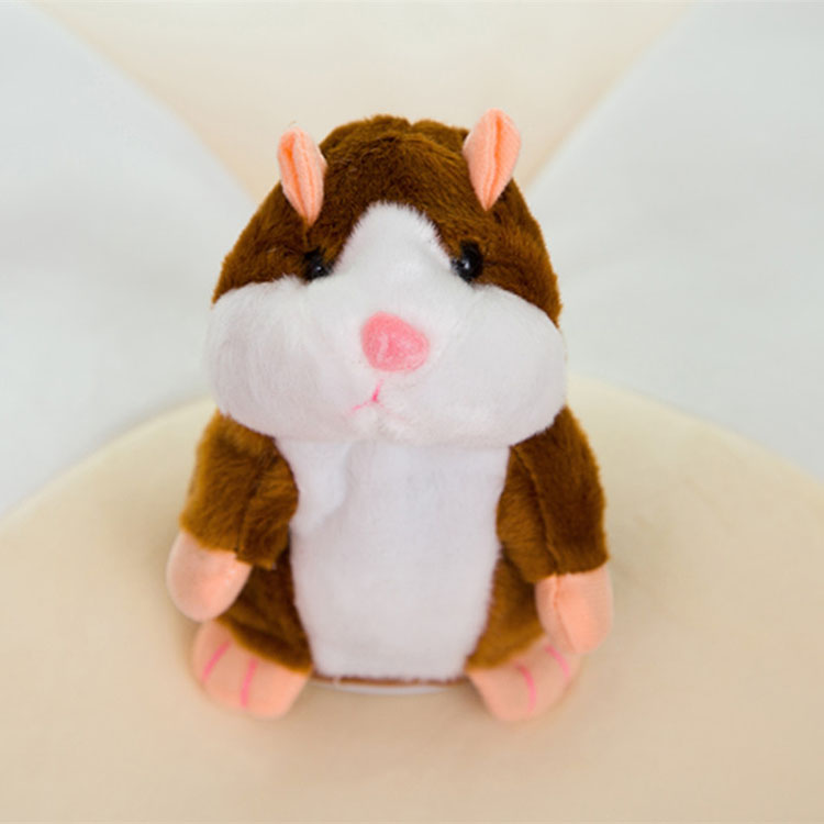 New Arrival Mimicry Pet Toy Electronic Doll Cute Hamster Talking Plush Toy Talking Animal Brown