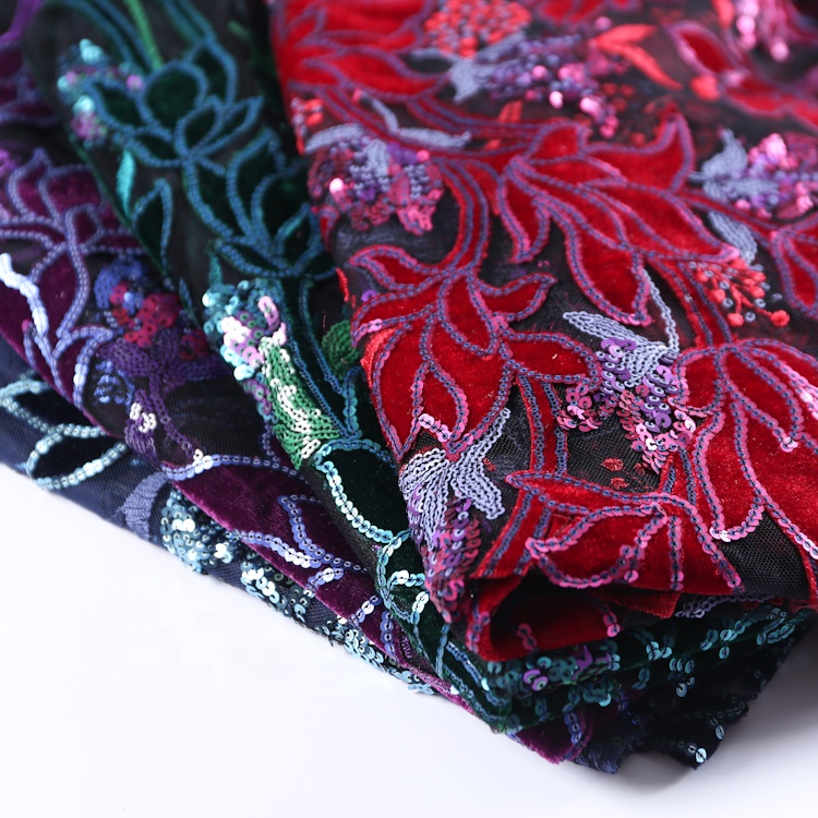 Beautiful sequin embroidery lace floral breathable mesh fabric <strong>material</strong> for dress