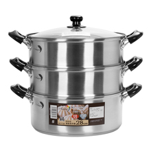 High Quality 430 stainless steel 3 layer 2 layer cooking food steamer pot induction with glass lid