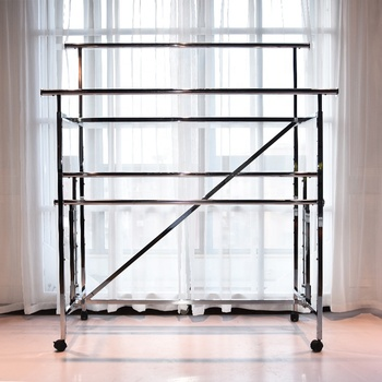 New Arrived Custom Metal Clothes Display Racks And Stands With Wheel
