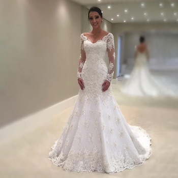FA167  Sereia Lace Mermaid Wedding Dresses 2019 V Neck Backless Long Sleeve Bridal Wedding Gowns Bride Dress
