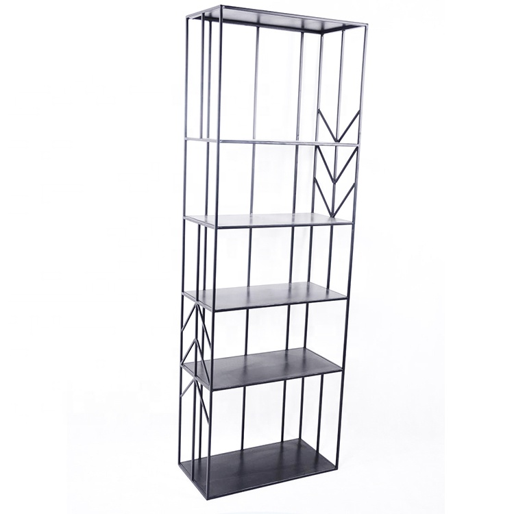 Mayco Book Shelf Metal,Decorative 5 Shelf Metal Wire Library Bookcases with Arrow Retouch