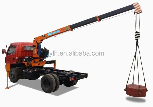 Small 3 ton truck mounted telescopic boom crane