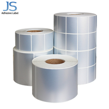 Hot sell matt sliver PET sticker roll size of 60mm*45mm*2000 for self adhesive <strong>paper</strong>