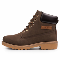 men's classic style warm round toe water proof lace up with logo ankle snow boots