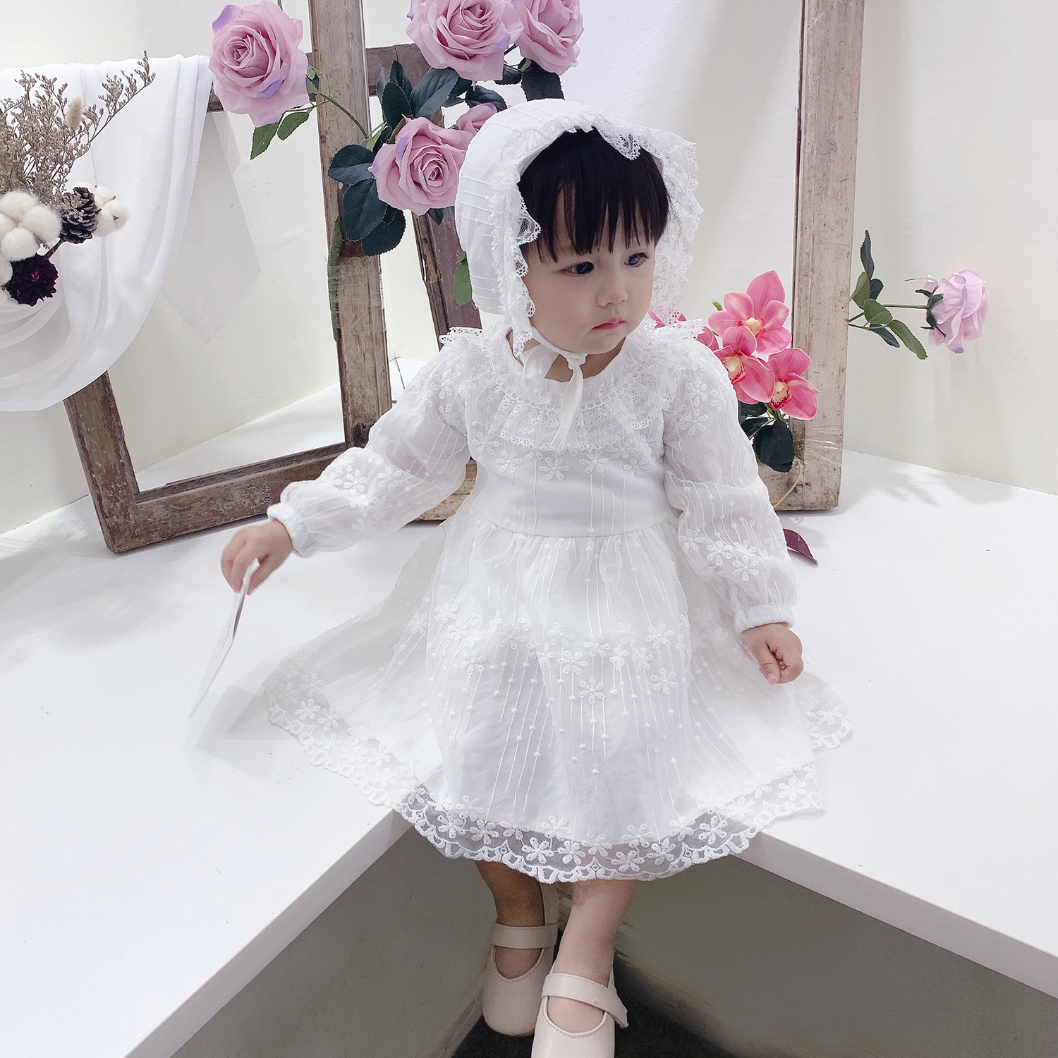 New Spring/Autumn Long Sleeve Baby Girl Clothes White Baby Clothing Wedding Party Prom Dresses