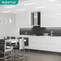 Adornus luxury white shaker pvc modern customized kitchen cabinet