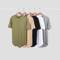 Wholesale combed cotton curved hem t-shirt oversized tshirt custom tshirt men