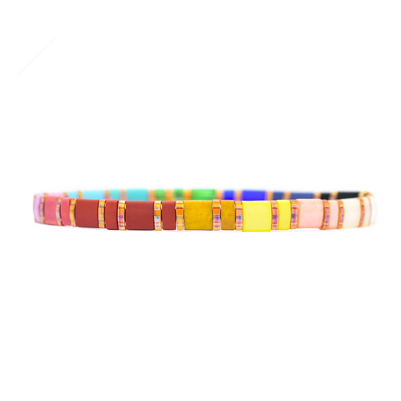 Bohemian Popular Miyuki Tila Bead Bracelet Handmade Colorful Square Tila Bracelet For Women
