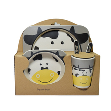 Bamboo Kids Dinner Set Bamboo Fiber Tableware Sets <strong>Plate</strong>+Bowl+Spoon+Fork+Cup