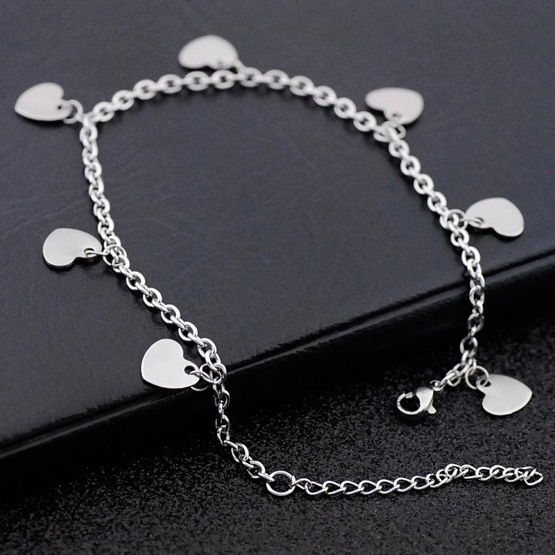 Love Shape Design Stainless Steel Anklet for Women Cuban Link Anklet Dylam jewelry