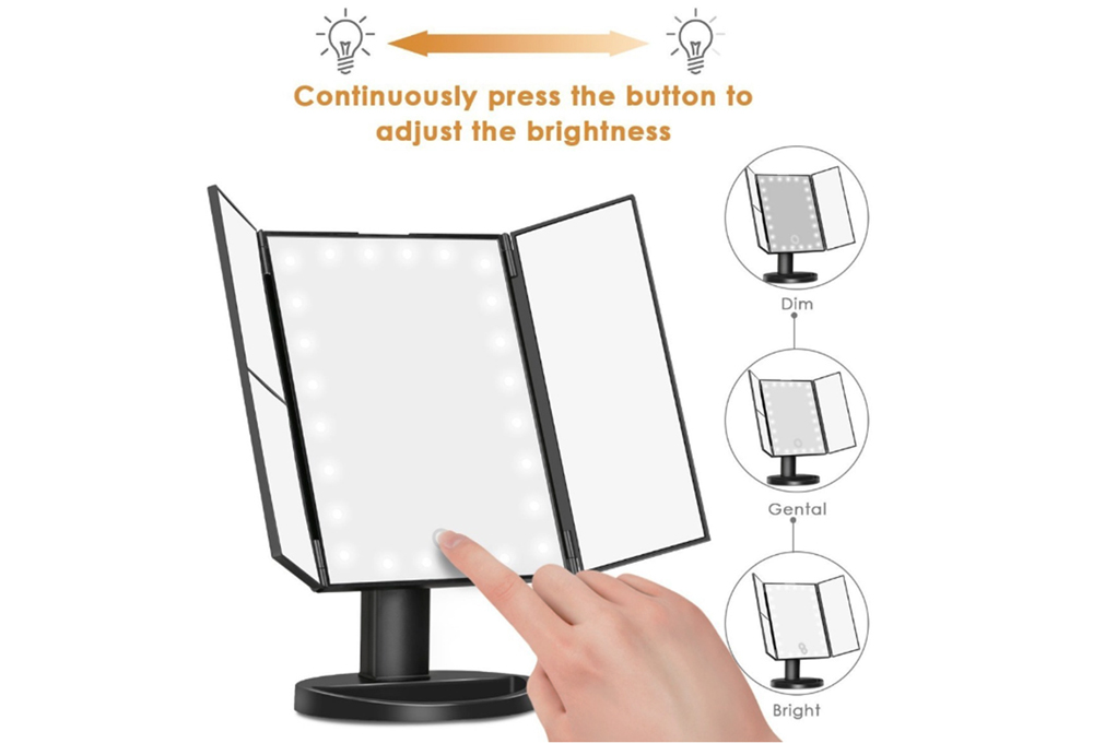 Touch Screen Makeup Mirror Tri-Fold with 24 LED Lights Dual Power Supply Mirror