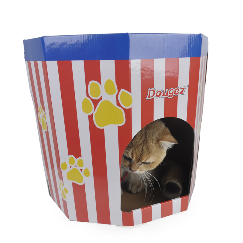 Wholesale cute cat house cat bed interior cardboard popcorn design cat play house