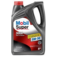 MOBIL SUPER 5000, 5W-30 Synthetic Blend Motor <strong>Oil</strong>- 5 Quart ( Pack of 3)