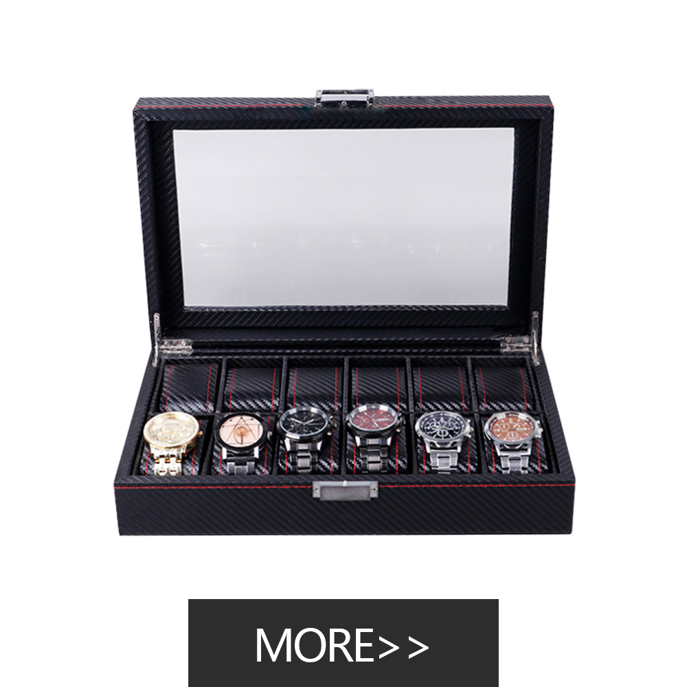 Custom logo watch case mens grey leather watch box Leather with cardboard luxury packing watch box 12 compartment personalized