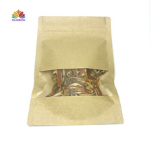 Free Shipping 20x30+5cm <strong>100</strong> Pack Kraft Paper Bags With Clear Window&amp;amp; Zip Lock For Dried Nut Fruits Packaging, High Quality <strong>C</strong>