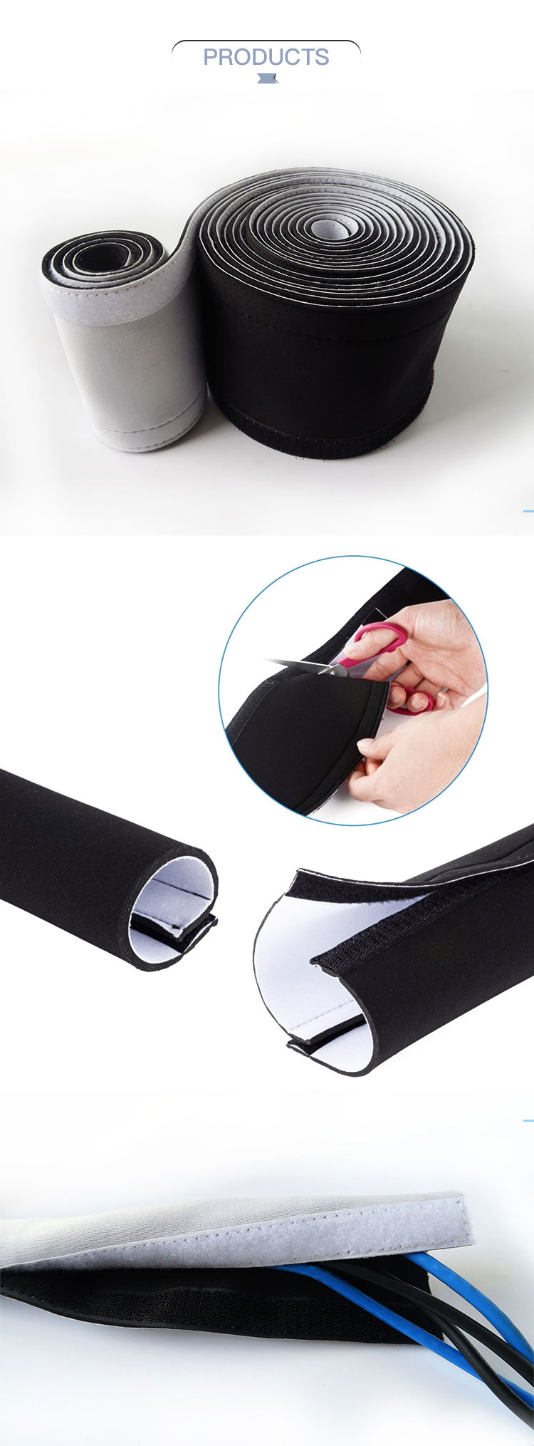 Neoprene Cord Sleeves Wire Cover Concealer Wrap Divign Wire Cable Management Sleeve hide