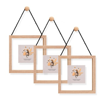 Multi 4*6 5*7 6*8 8*10 Natural Wooden Wall decor Double Sides Glass Floating Picture Photo Frame