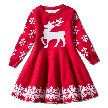 Kids Sweater Dresses for Girls Long Sleeve Deer Snowflake Dress New Year Costume Princess Dress Kids Christmas Clothes