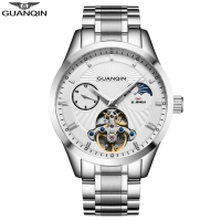 GUANQIN GJ16105 Men Binger Business Automatic Mechanical Watches Stainless Steel Moon Phase Man Wrist Watch