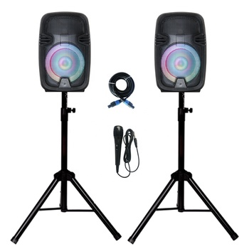 "Party 2 Way Powered combo 8"" PA System Professional 800W DJ Bluetooth Speakers Active+Passive Loud Set 2Stand 2Party LED Bocina"
