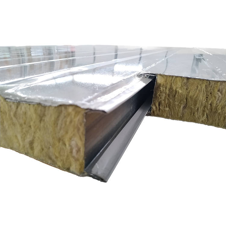 1150 type50 mm0.476 steel sheet  thick Rock WOOL sandwich roof panels export from Foshan China