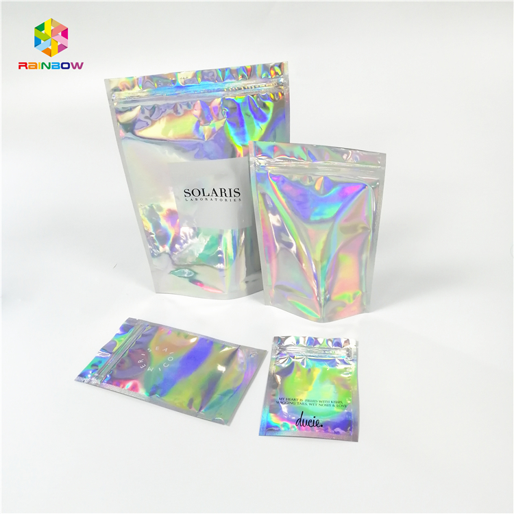 Transparent One Side clear Luxury Plastic Small Ziplock Jewelry Hologram Packaging Bag for packaging jewelry/glitter/cosmetics