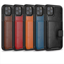 3 in 1 Leather Wallet Card Slot Heavy Duty Hybrid Armor Defender Rugged Impact <strong>Case</strong> For iPhone 11 11 Pro 11 Pro Max 6 6S 7 8 X