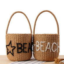 Letters Straw Bucket Beach Bags Round Straw Bucket Beach Bag And <strong>Totes</strong> With Pockets