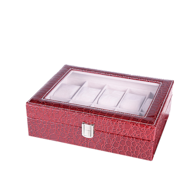 10 Slots Leather Luxury Watch Organizer Winder Watch Display Box With Lock